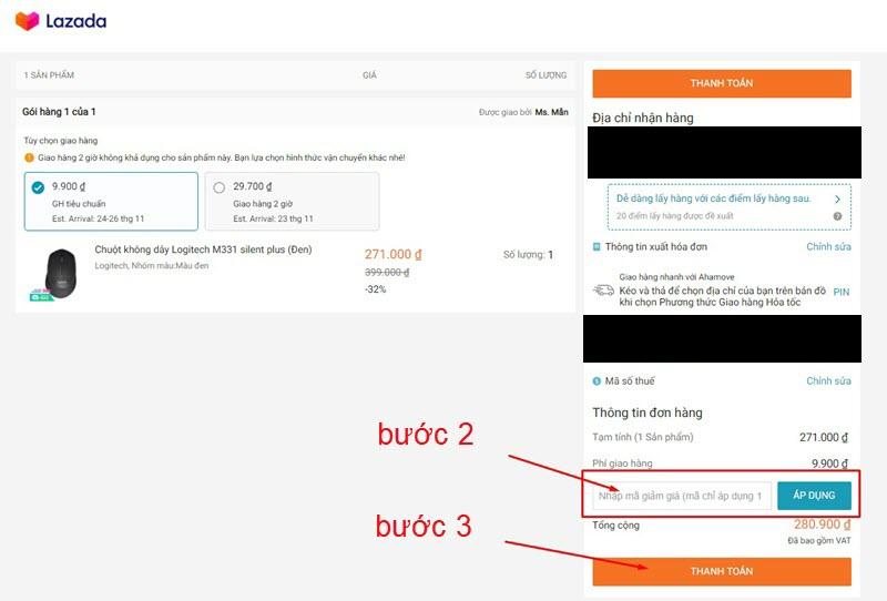 Nhập mã giảm giá lazada và xác nhận thanh toán đơn hàng