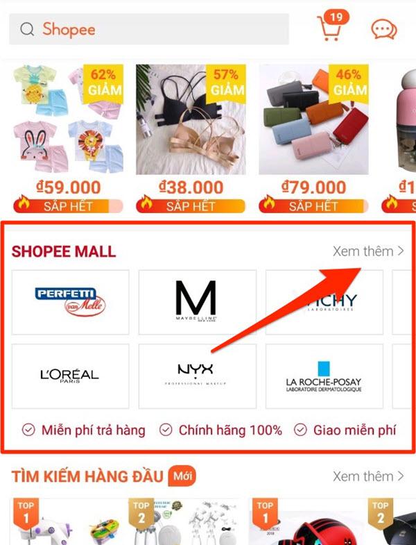Truy cập Shopee Mall từ trang chủ shopee.vn